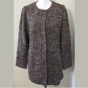 Talbots Long Length Tweed Button Up Blazer Jacket